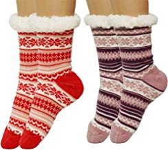 Womens Super Soft Non Skid Fleece Lining Warm Fuzzy Snowflake Slipper Socks