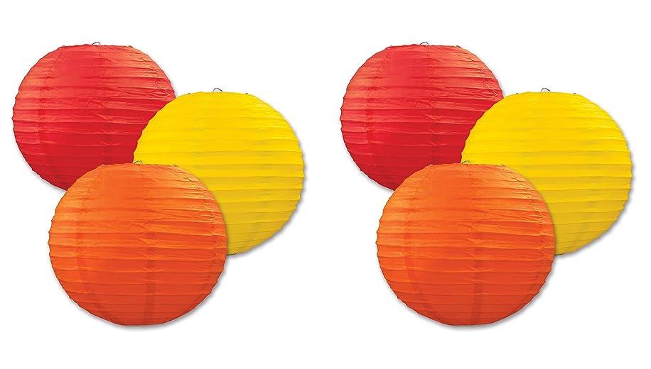 Beistle S54570-GORAZ2 paper lanterns, Yellow/Orange/Red