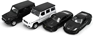 Just For Laughs Style Car 4 Pack, Diecast Black & White Mercedes Benz G63AMG, Chevy Camaro, Corvette Grand Sport