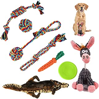 Dog Toys Gift pack - Contain Puppies Teething Chew Cotton Rope & Squeaky Plush Toys Suitable for Small Medium Dog Training...