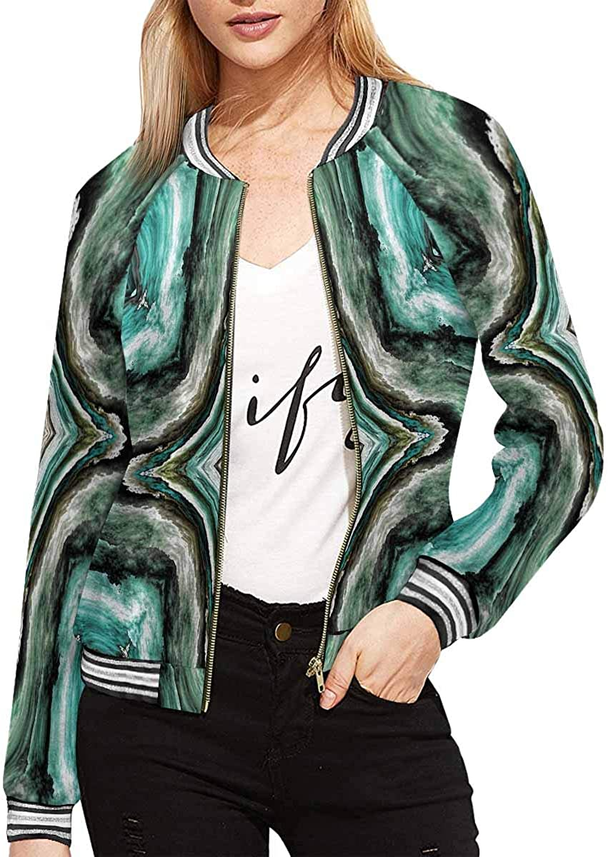 InterestPrint Women's Trees in Fog on The Mountain, Evergreen Forest Long Sleeves Zippered Pockets Jacket