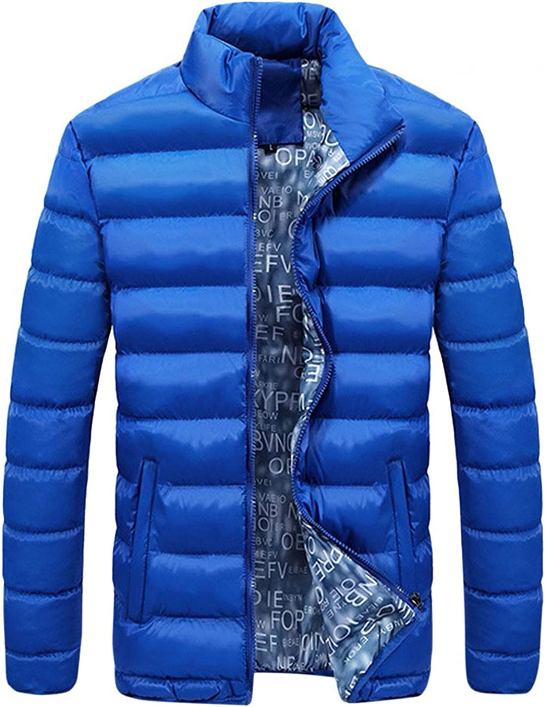 LEIYAN Mens Lightweight Packable Down Jacket Zip Up Long Sleeve Windproof Winter Warm Coat Puffer with Zipper Pockets