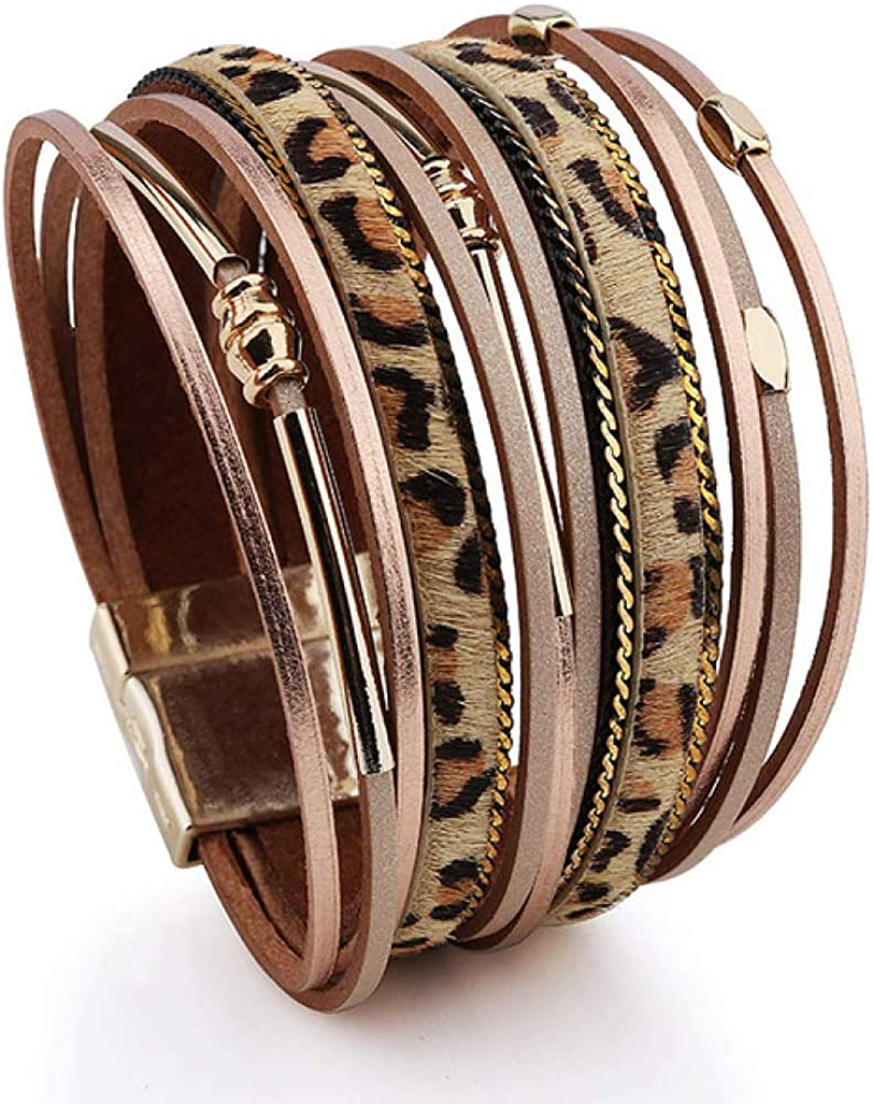Leopard Leather Bracelet For Women Faux Fur Wrapped favorite Multi-layer Challenge the lowest price