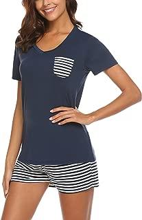 Womens Pajama Set Striped Short Sleeve Sleepwear Pjs Sets