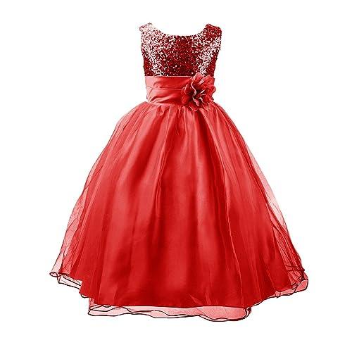 46901134 Little Girls Sequin Dress Sleeveless Wedding Flower Girls Tulle Dresses  Party Ball Gowns