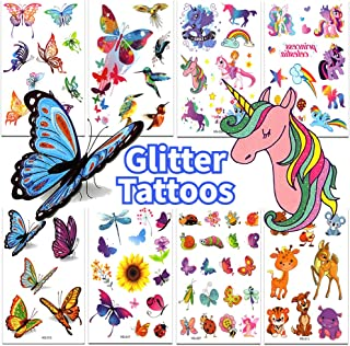 Glitter Tattoos for Kids Birthday Party Supplies Colorful & Sparkly Butterfly Tattoos Unicorn Tattoos for Party Favors 8 Sheets