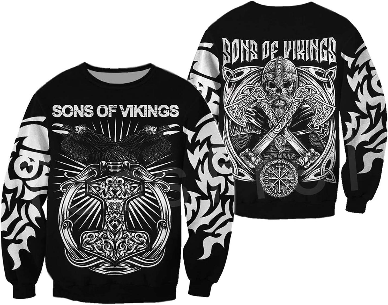 Men Vikings Hoodies,Viking Warriors Symbol Tattoo Fashion Harajuku Menwomen 3Dprint Zipper/Sweatshirts/Jacket