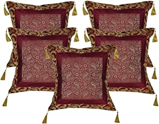 Lalhaveli Square Shape Maroon Color Throw Pillow Cushion Cover 18 x 18 Inch Set of 5 Pcs