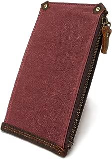 Men's Wallet Zipper Canvas Long Multi Card Wallet Retro Waterproof Canvas Bag (Color : Pink, Size : S)