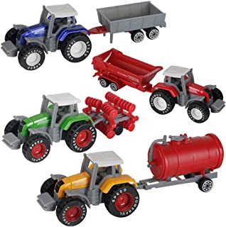 AITING Metal Die Cast Farm Tractor Cars Toys Play Vehicle Set - Disc Plow, Water Tank, Wagon, Dump Trailer