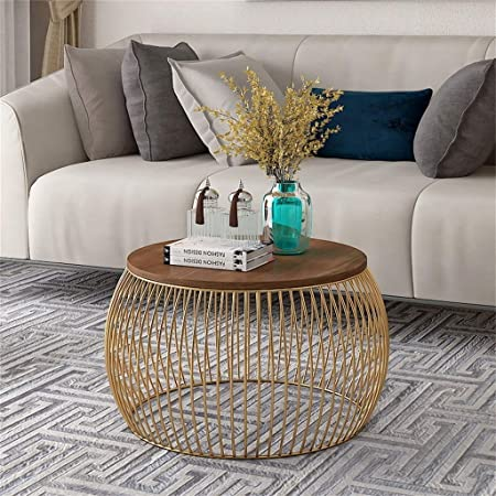 D Obair Engineered Wood Semi-Gloss Modern Coffee Table (Gold Brown, 61 X 61 X 42)