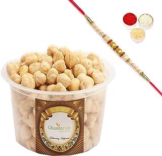 Ghasitaram Gifts Rakhi Gifts for Brothers Rakhi Dryfruits Hazelnuts- Ghasitaram's Hazelnuts 200 GMS with Pearl Rakhi