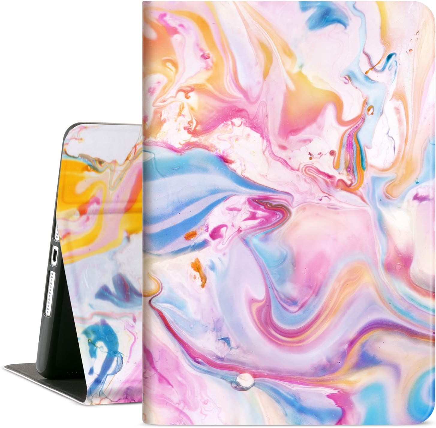 Cutebricase iPad 10.2 Case for iPad 9th Generation 2021, iPad 8th Generation 2020, 7th Generation iPad Case 2019, Multi-Angle View Adjustable Stand Auto Wake / Sleep (Tie-Dye Painting)