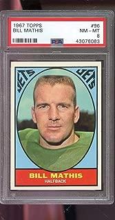 1967 Topps #96 Bill Mathis New York Jets NM-MT PSA 8 Graded Football Card