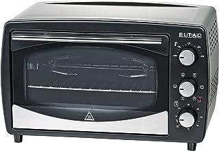 Eltac RG 15 - Mini Horno (23 L, 6 Funciones de calefacción, recirculación, pincho Giratorio motorizado, Doble Puerta de Cristal, Temporizador, Revestimiento Antiadherente, 1500 W), Color Negro