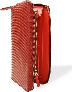 [Dom Teporna] 長財布 牛革 カーボン レザー ラウンドファスナー ウォレット サイフ メンズ レディース 全3色