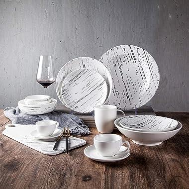 SHINING Marble Pattern Ceramics Dinner Dishes Set Dinnerware Tableware Dishwasher Safe Steak Dinner Plate Soup Plat Flat Plat