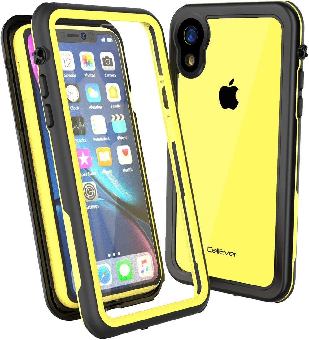 CellEver Compatible with iPhone XR Case, Clear Waterproof Shockproof IP68 Certified SandProof Snowproof Full Body Protective Clear Transparent Cover Designed for iPhone XR 6.1 inch (2018) - KZ Yellow