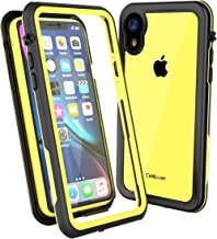 CellEver Clear iPhone XR Case Waterproof Shockproof IP68 Certified SandProof Snowproof Full Body Protective Clear Transparent Cover Fits Apple iPhone XR 6.1 inch (2018) - KZ Yellow