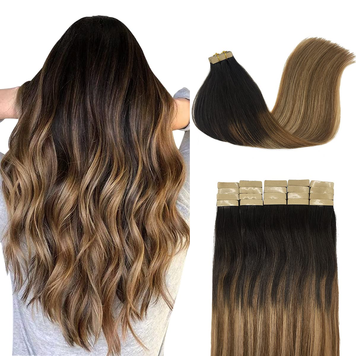 Manufacturer OFFicial shop DOORES Tape in Human Hair Extensions Balayage Ches to Brown Over item handling Dark