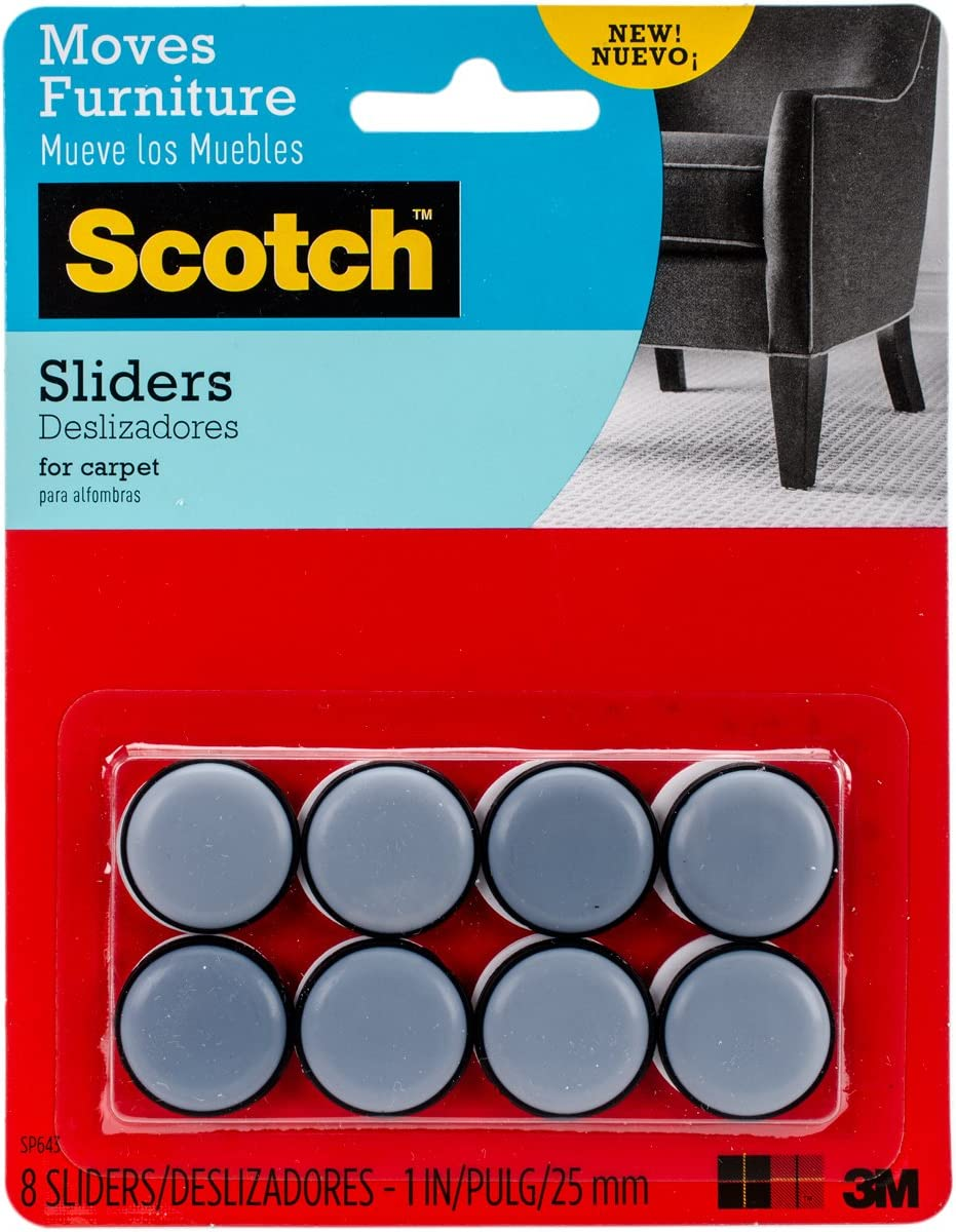 Scotch Self-Stick Sliders Raleigh Mall Gray 8 1-in Diameter Black latest