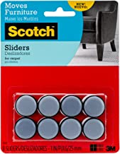 Scotch Sliders autoadesivos, cinza/preto, 2,54 cm de diâmetro, 8 sliders/pacote (SP643-NA)