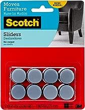 Scotch Self-Stick Sliders, Gray/Black, 1-Inch Diameter, 8 Sliders/Pack (SP643-NA)