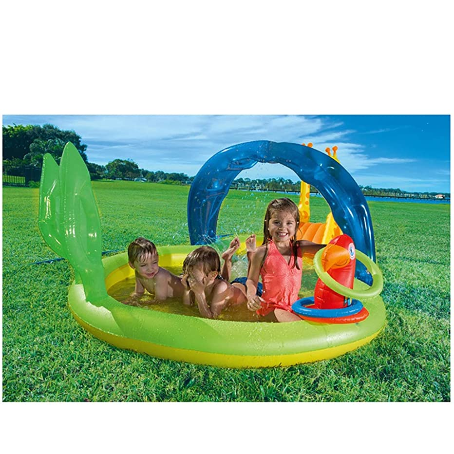 CQYCPLGD2 Kiddie Pool Inflatable Pool with Slides Awnings Can Spray Water for Toddlers, Kids 133