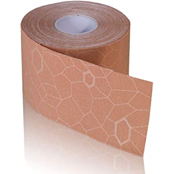 TheraBand Kinesiology Tape, Waterproof Physio Tape for Pain Relief, Muscle & Joint Support, Standard Roll with XactStretch Application Indicators, 2 Inch x 16.4 Foot Roll, Beige/Beige