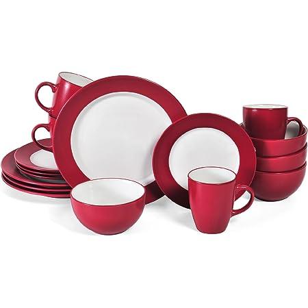 Pfaltzgraff Harmony 16 Piece Dinnerware Set (Service For 4), Red