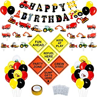 Construction Birthday Party Decorations Set,Dump Truck Party Decorations for Kids Birthday party,with Cake Toppers, Happy Birthday Banner, Construction Paper Banner, Balloons, Signs,Construction Party Supplies for Bday Party.