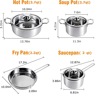 Kitchen Cookware Sets 7-Piece Induction Stainless Steel Pots and Pans Set Kitchenware Cooking Set with Lid Dishwasher Safe Si