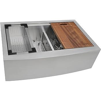 "Ruvati RVH9301 Apron Front 16 Gauge 36"" Kitchen Double Bowl Sink, Stainless Steel"