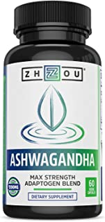 Zhou Ashwagandha | Natural Adaptogenic Supplement with Rhodiola | for Stress and Occasional Anxiety Relief | 30 Servings, ...