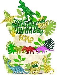 27 PCS Dinosaur Birthday Cake Topper Cute Glitter Dinosaur Cupcake Topper Tropical Palm Leaves Cake Toppers Set Baking Cak...