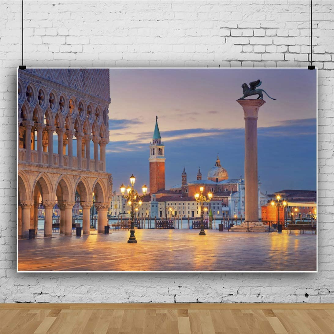 15x10ft Vinyl Italy Venice Landscape Backdrop Venice Water City Gondolas Boat at Dusk Coast Photography Backdrop Travel Wedding Lovers Child Adult Portrait Photoshoot Studio Props