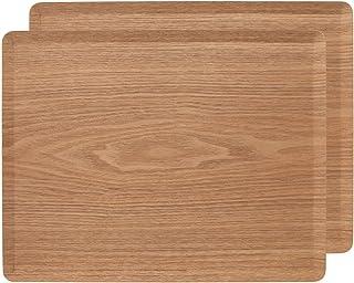 BOMEIAO木製トレー 天然木製 ウッドトレイ スタッキング 収納 ノンスリップ トレイ -コーヒーティーカップソーサートレイ-長方形滑り止めプラッター 業務用 家庭用 ウッドトレー2パック販売14.1x11インチ