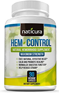 Hem-Control Natural Hemorrhoid Treatment Supplement - Fast & Lasting Pain Relief Pills - Vegan Capsules for...