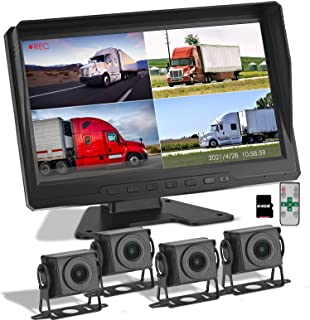 10.1 inch Ultra-Clear FHD1080P Truck and Bus Driving Backup Camera w/ Built-in Recorder, HD Quad Split Monitor with Starlight Night Vision Parking Lines for RV/Truck/Trailer/Van