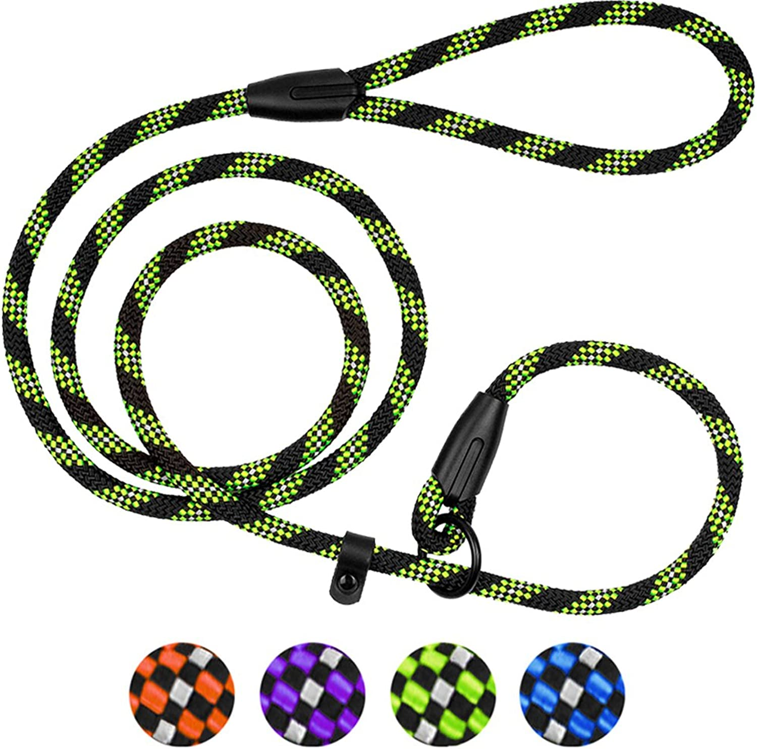 BronzeDog Rope Dog Leash 6ft Mountain Climbing Training Slip Show Lead Braided Reflective Leashes for Small Medium Large Dogs (S M Slip Show Lead, Green)