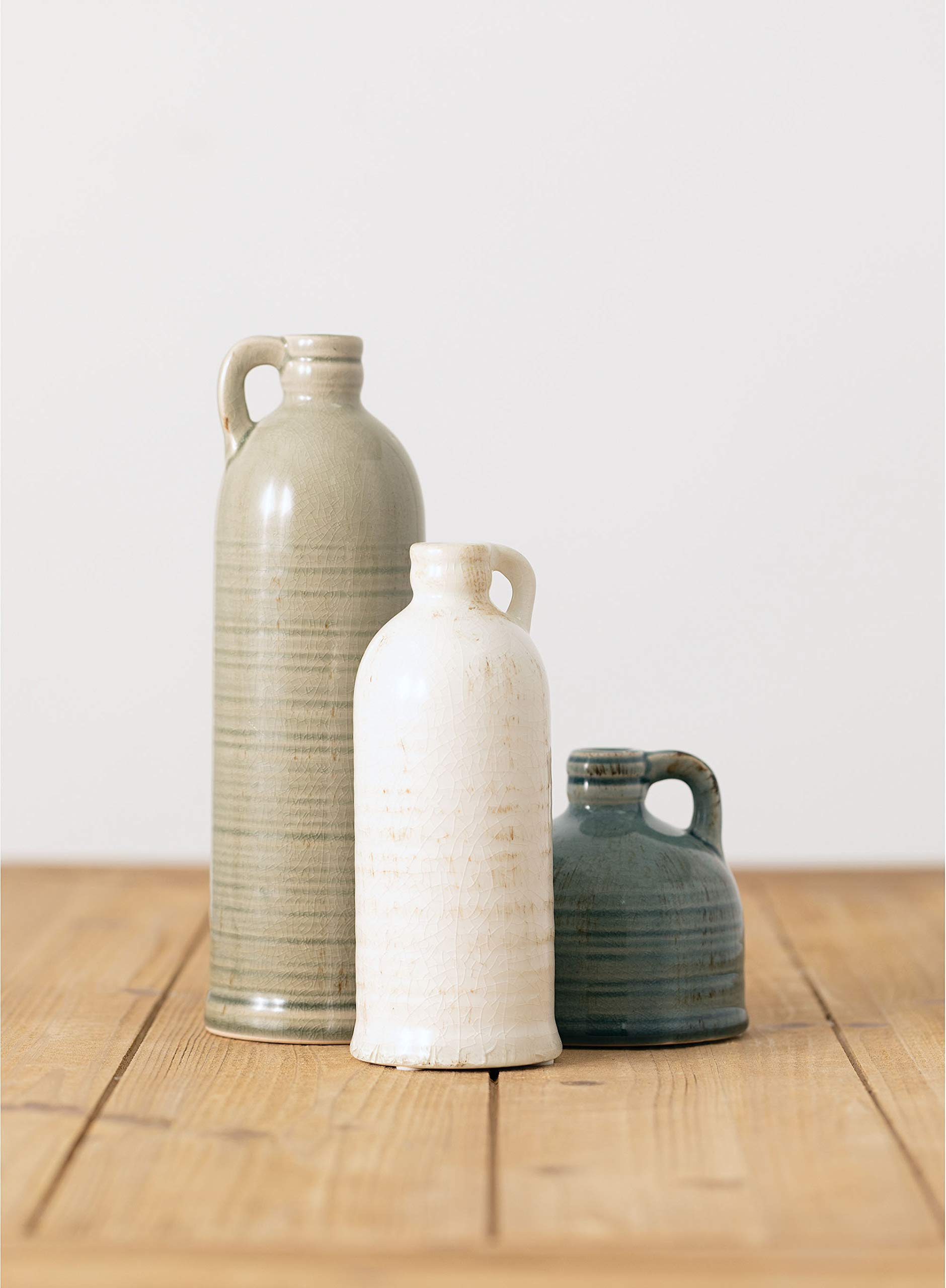 """Sullivans Modern Farmhouse Decorative Multi-Color Small Ceramic Jug Set of Three (3), 4"""", 7.5"""" & 10"""" Tall, Crackled Finish Faux Floral Jugs, Distressed Decoration for Rustic Décor, Housewarming Gift (CM2431)"""