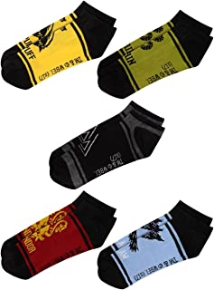 Deathly Hallows House Animals Gryffindor Ravenclaw Hufflepuff Slytherin 5 Pack Ankle Socks