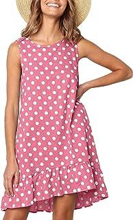 Women Casual Polka Dot Sleeveless Tunic Ruffle Hem Swing Midi Dresses with Pockets