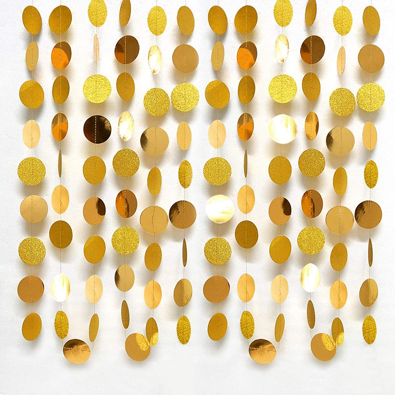 Gold Circle dots Garland Party Decorations Paper Polka Dots Streamers Hanging Decor Backdrop Bunting for Wedding/Birthday/Baby Shower/Graduation/New Year/Christmas/Home/Garden/Barbecue/Doorway