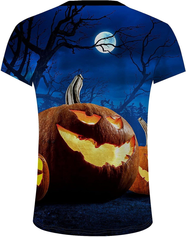 WUAI-Men Halloween Short Sleeve Workout T-Shirts Cute Funny Pumpkins Skeleton Printed Casual Comfy Plain Summer Tops