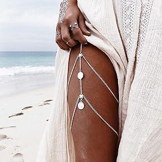 Simsly Harness 3 strati strass & cristallo corpo gamba catena accessori per donne (argento)