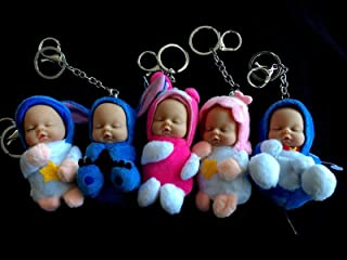 Cute Sleeping Baby Doll Keyring 9cm Key Ring New