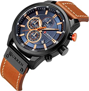 Mens Leather Strap Watches Classic Casual Dress Stainless...