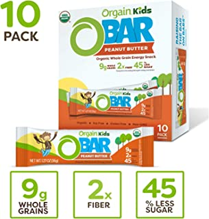 Orgain Organic Kids Energy Bar, Peanut Butter - Great for Snacks, Vegan, 7g Dietary Fiber, 4g Protein, Dairy Free, Gluten Free, Lactose Free, Soy Free, Kosher, Non-GMO, 1.27 Ounce, 10 Count