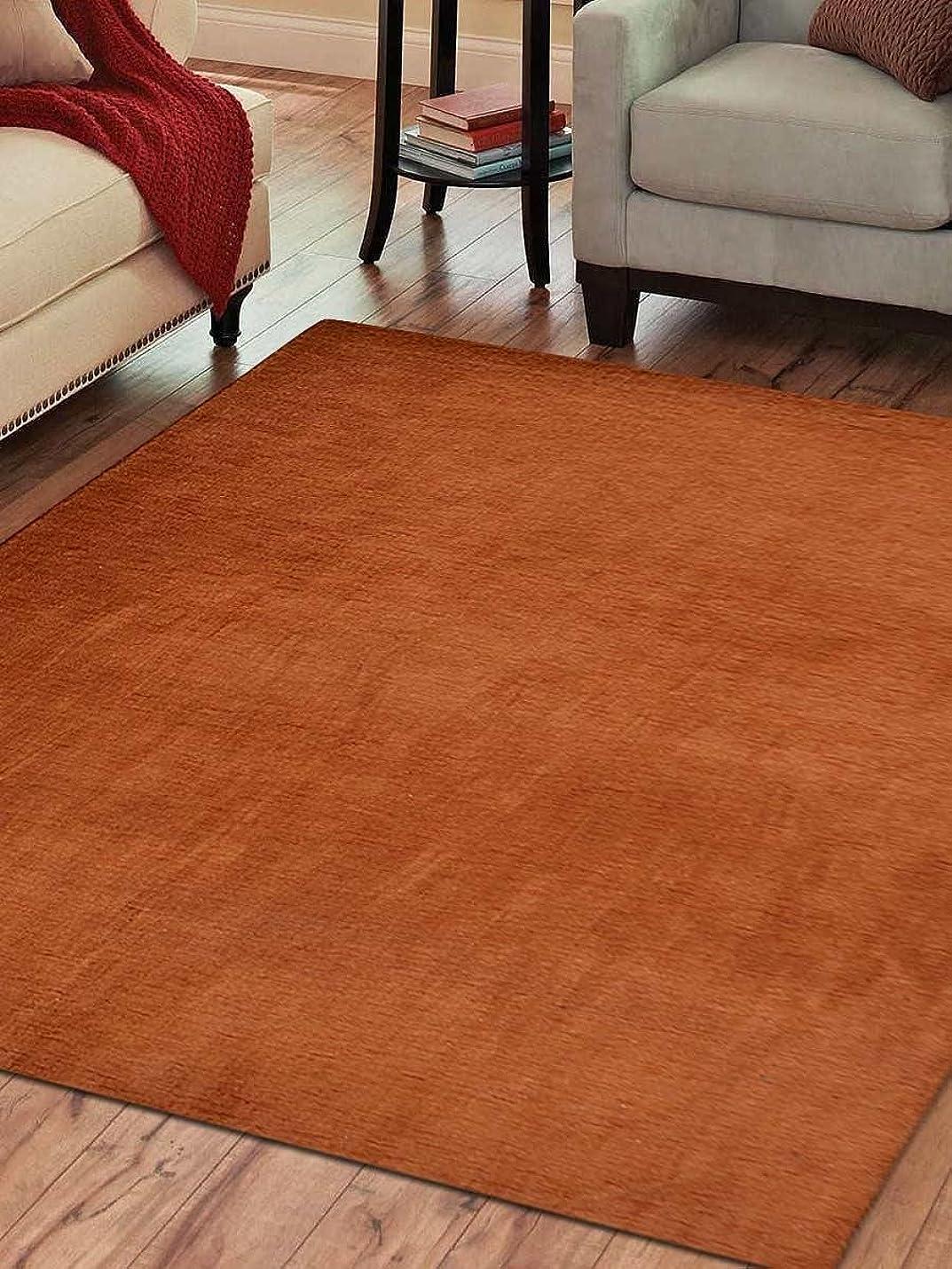 ハチシチリア削減rugsotic Carpets Hand Knotted Gabbehウールソリッド5?' X 8?' Area Rugオレンジl00111